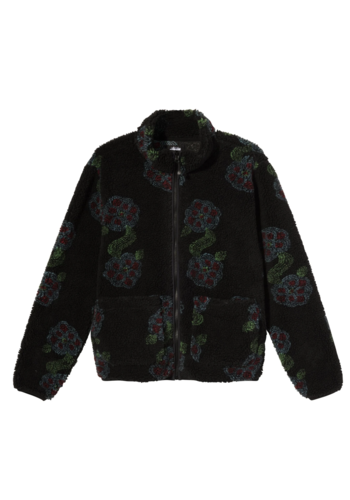 STUSSY flor sherpa mock neck black