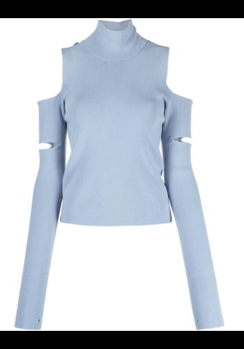 MM6 MAISON MARGIELA cut-out knitwear sleeves blue grey