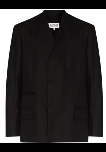 MAISON MARGIELA collarless single-breasted mixed fabric blazer black