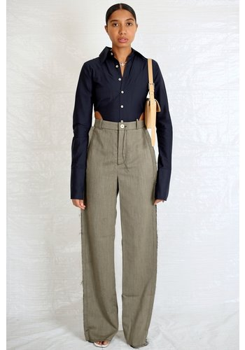 NINAMOUNAH pasque raw edge suit trousers twill grey