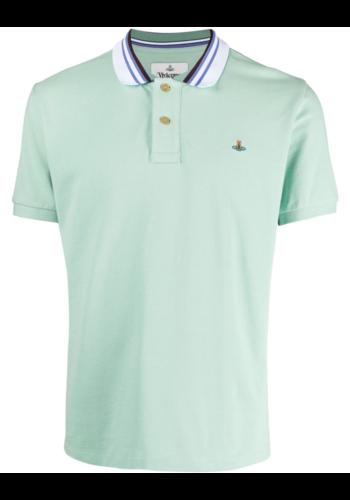 VIVIENNE WESTWOOD classic polo stripe collar mint