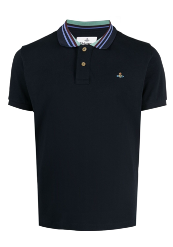 VIVIENNE WESTWOOD classic polo stripe collar navy