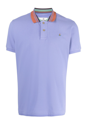 VIVIENNE WESTWOOD classic polo stripe collar lilac blue