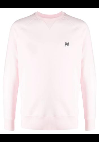 MAISON KITSUNE grey fox head sweatshirt light pink