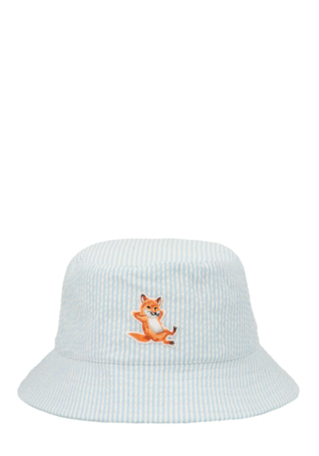 MAISON KITSUNE chillax fox bucket hat blue stripe