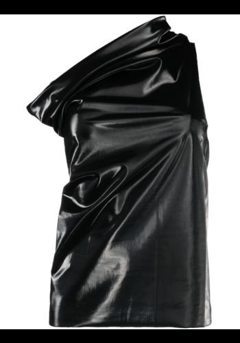 RICK OWENS LILIES faux leather asymmetric top black