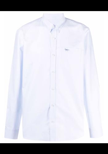 MAISON KITSUNE fox emroidery shirt blue