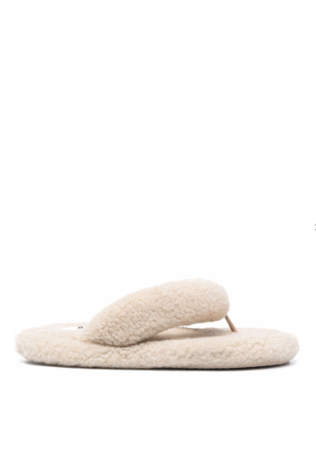 MM6 MAISON MARGIELA Teddy faux-shearling flip flops beige