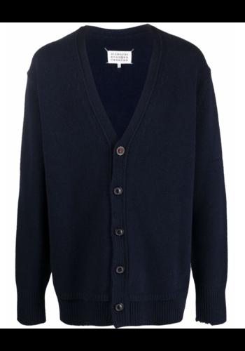 MAISON MARGIELA knitwear vest elbow patch navy