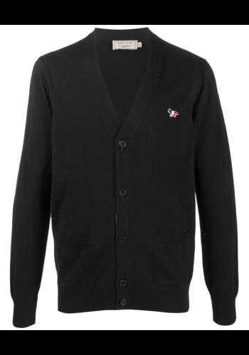 MAISON KITSUNE tricolor fox patch classic cardigan black