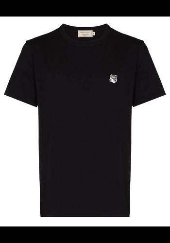 MAISON KITSUNE grey fox head patch classic t-shirt black