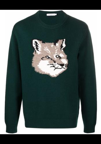 MAISON KITSUNE big fox head pullover dark green