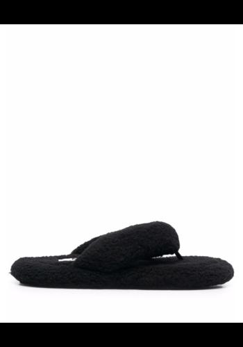 MM6 MAISON MARGIELA teddy faux-shearling flip flops black