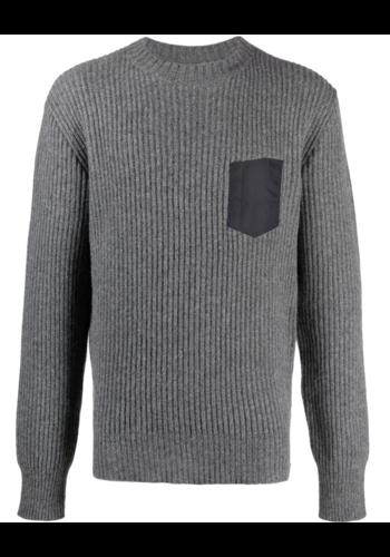 MAISON MARGIELA rib-knit jumper pocket medium grey melange