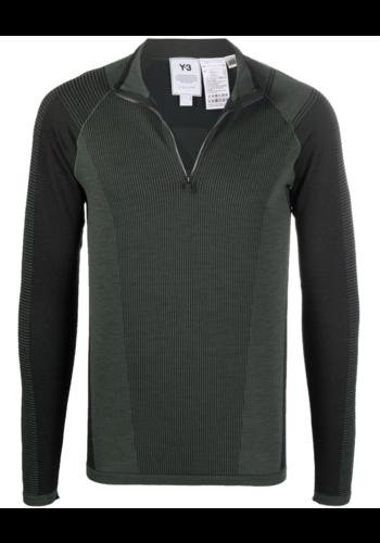 Y-3 knit high-zip shadow green/black