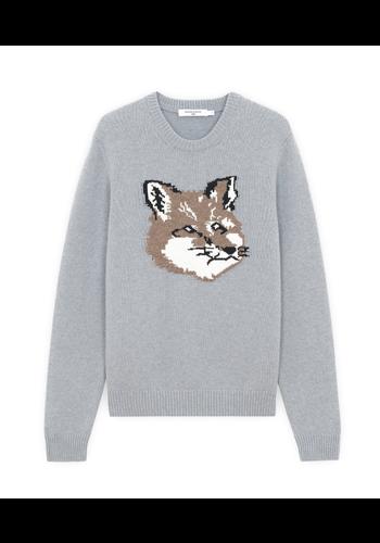 MAISON KITSUNE big fox head pullover grey