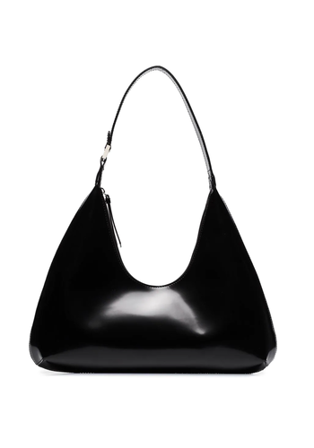 BY FAR amber bag black semi patent leather