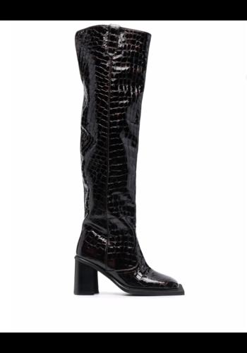 NINAMOUNAH howling knee boots shiny dark brown croco