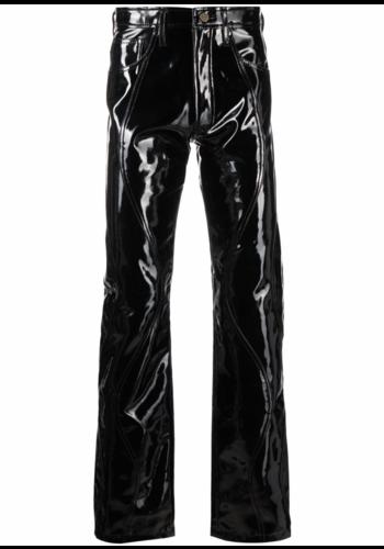 NINAMOUNAH peacock vinyl pants black