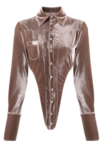 NINAMOUNAH bipedalism bodysuit blouse brown velvet