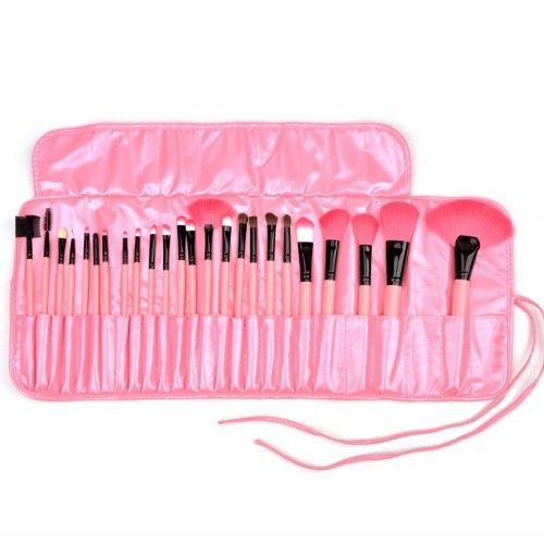 24 delige Pink Professional Makup brush Set