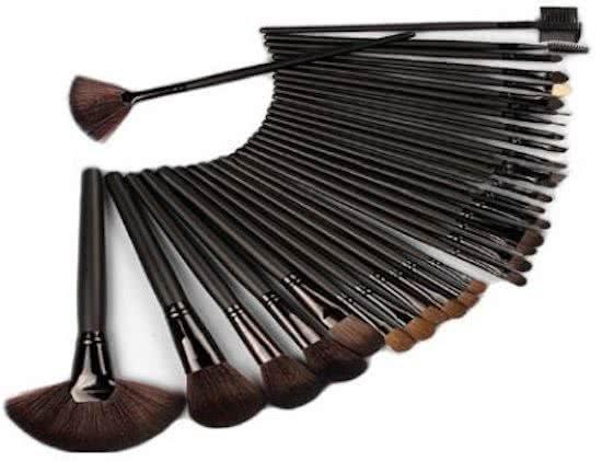24 delige Black Professional Makup brush Set