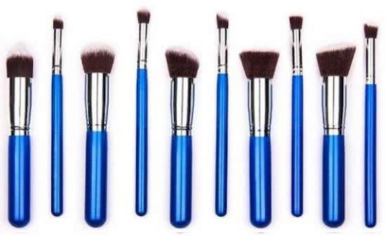 10-delige Professionele Makeup Kwasten  Set Blauw met Etui