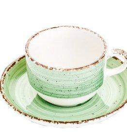 Güral Porselen Kop en schotel groen Gural Ent 170ml 617349