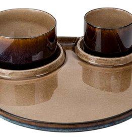 Cosy & Trendy Cosy & Trendy Quintana amber Plat bord met 3 vakken D32CM met 2 kommetjes D8XH6 en D11XH6CM - 5950003