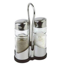 Menagere zout&peper glas/inox 10647