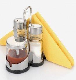 Menagere zout/peper/Sauspotje met servethouder 602243