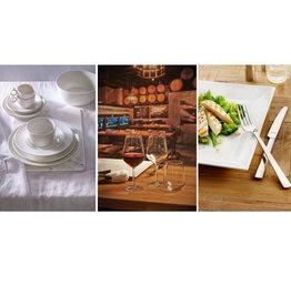 Maastricht Porselein Serviesset Combi Maastricht porselein Lux Amefa Moderno & Pasabahce Allegra 60 delig (6 personen)