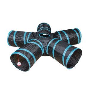 Duvo+ Speeltunnel Kat - Blauw/Zwart 100x25cm