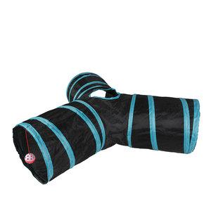 Duvo+ Speeltunnel Kat - Blauw/Zwart 80x25cm