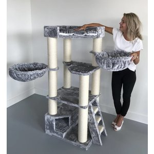 RHRQuality Cat Tree Corner Coon Light Grey