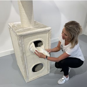 RHRQuality Tiragraffi Cat Tower Box Cream