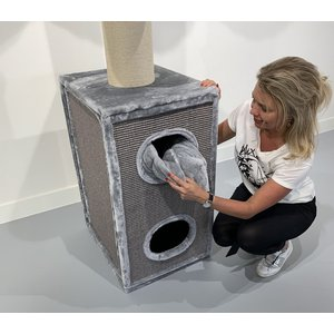 RHRQuality Tiragraffi Cat Tower Box Light Grey