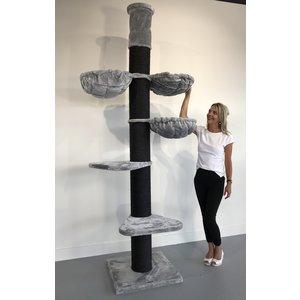 RHRQuality Cat Tree Maine Coon Tower PLUS Blackline Light Grey