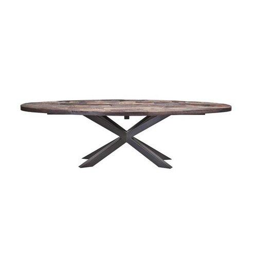 Salontafel ovaal met metalen poot 160x45 cm