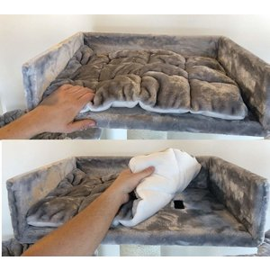 RHRQuality Cat Bed Lounge + Pillow Light Grey