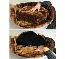 RHRQuality Cat Bed Round Ø 50 cm + Pillow Brown