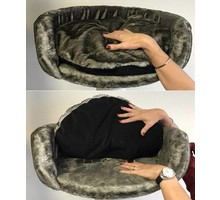 RHRQuality Cat Bed Round cm 50 cm + Pillow Taupe