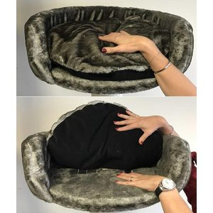 RHRQuality Cat Bed Round + Pillow Taupe
