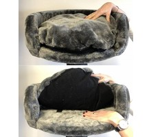 RHRQuality Cat Bed Round Ø 50 cm + Pillow Dark Grey
