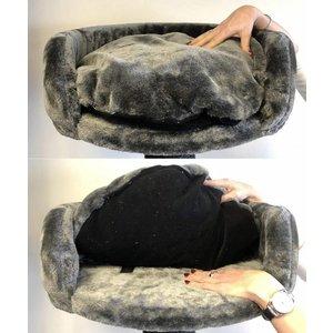 RHRQuality Cat Bed Round + Pillow Dark Grey