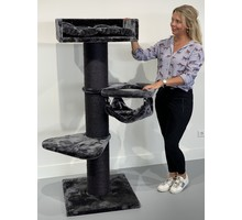 RHRQuality Cat Tree Royalty Crown Blackline Dark Grey