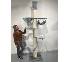 RHRQuality Cat Tree Maine Coon Tower Crown Light Grey