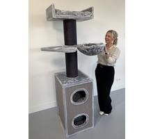 RHRQuality Cat Tree Maine Coon Tower Box Comfort Blackline Light Grey