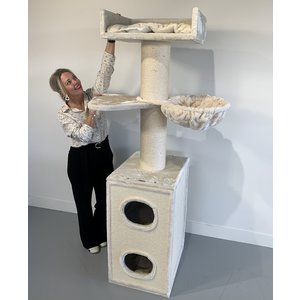 RHRQuality Cat Tree Maine Coon Tower Box Comfort Creme