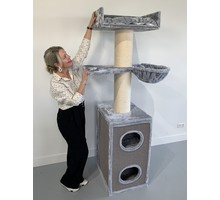 RHRQuality Cat Tree Maine Coon Tower Box Comfort Light Grey